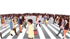 Illustration der Überfahrt der verkehrsreichen Straße in der Perspektive lizenzfreie abbildung