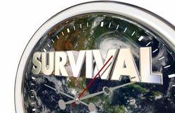 Illustration der Überlebens-Count-down-Planeten-Erdweltuhr-3d Stockfoto