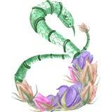 Illustration der Aquarellschlange in den Rosen lizenzfreie abbildung