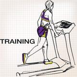 Illustration der athletischen Frau auf Sportunterrichtweg-Tretmühle runni Lizenzfreie Stockfotografie