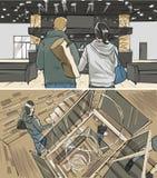 Illustration der Aufnahmezone und -treppe Lizenzfreie Stockfotografie