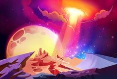 Illustration: Der ausgezeichnete Kosmos wundert sich auf einem ausländischen Planeten vektor abbildung