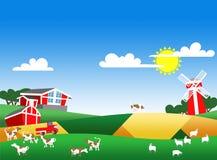Illustration der Bauernhoflandschaft Stockbilder