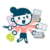 Illustration der beschäftigten Karrierefrau Lizenzfreies Stockbild