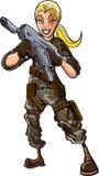 Illustration der Frau mit einem Maschinengewehr Lizenzfreie Stockbilder