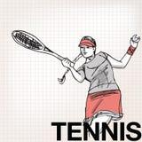 Illustration der Frau Tennis spielend Lizenzfreie Stockfotografie