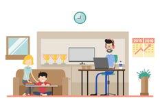 Illustration der Freiberuflerfamilie Stockbilder