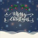 Illustration der frohen Weihnachten Landschafts Lizenzfreie Stockfotografie