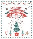 Illustration der frohen Weihnachten und des guten Rutsch ins Neue Jahr stockfotos