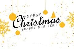 Illustration der frohen Weihnachten und des guten Rutsch ins Neue Jahr lizenzfreie stockbilder
