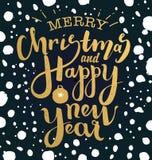 Illustration der frohen Weihnachten und des guten Rutsch ins Neue Jahr Stockfoto