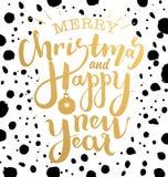 Illustration der frohen Weihnachten und des guten Rutsch ins Neue Jahr Lizenzfreies Stockbild