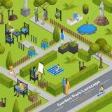 Illustration der Garten-Park-Landschaft Stockfotos