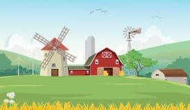 Illustration der Gebirgslandschaft mit roter Bauernhofscheune Lizenzfreie Stockfotos