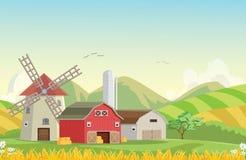 Illustration der Gebirgslandschaft mit roter Bauernhofscheune Lizenzfreies Stockfoto