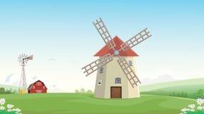 Illustration der Gebirgslandschafts-Bauernhofscheune mit Windmühle Stockfotos