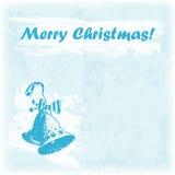 Illustration der Gekritzel-Hand gezeichnete frohen Weihnachten Bell auf dem Aquarellhintergrund Lizenzfreie Stockbilder