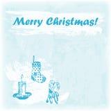 Illustration der Gekritzel-Hand gezeichnete frohen Weihnachten Kerze, Socke und Bonbons auf dem Aquarellhintergrund Stock Abbildung