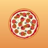 Illustration der geschmackvollen Pizza Stockfoto