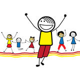 Illustration der glücklichen Kinder (Kinder) Springen u. danc Lizenzfreies Stockbild