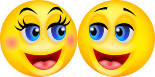 Glückliche smileypaarkarikatur lizenzfreie abbildung