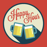 Illustration der glücklichen Stunde mit Bier über Weinlesehintergrund Stockfotografie