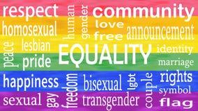 Illustration der Gleichheitswortbeschriftung auf lgbt Flaggen-Farbhintergrund stockfotos