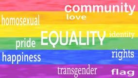 Illustration der Gleichheitswortbeschriftung lokalisiert auf lgbt Flaggen-Farbhintergrund stock footage
