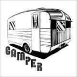 Illustration der Hand gezeichnet, Gekritzel Camper, Auto Recreati Lizenzfreie Stockbilder