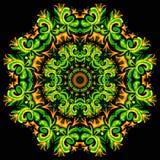 Illustration der hellen Verzierungskarte mit Mandala lizenzfreie abbildung