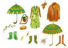 Illustration der Herbstwinteroberbekleidung, der Regenschirme und der Gummistiefel Klassischer Mantel lizenzfreie abbildung