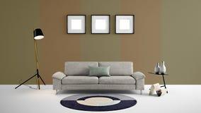 Illustration der hohen Auflösung 3d mit braunem und hellbraunem Farbwandhintergrund und -möbeln Stockbild