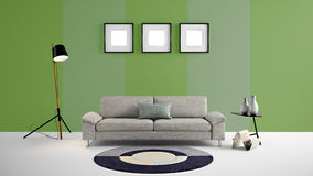 Illustration der hohen Auflösung 3d mit Grün und verblassen grüne Farbwandhintergrund und -möbel Lizenzfreie Stockfotos