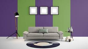 Illustration der hohen Auflösung 3d mit grünem und purpurrotem Farbwandhintergrund und -möbeln Stockbilder
