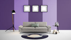 Illustration der hohen Auflösung 3d mit hellpurpurnem und dunklem purpurrotem Farbwandhintergrund und -möbeln Stockbild