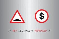 Illustration der Idee der Netzneutralität Geschwindigkeiten regulierend lizenzfreie abbildung