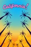 Illustration der Idee von Kalifornien-Palmen zerstört durch Feuer stock abbildung