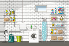 Illustration der Inneneinrichtung eines Kellers stock abbildung