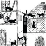 Illustration der Katze in der Stadt Schwarzweiss Lizenzfreies Stockfoto