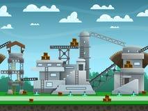 Illustration der Landschaft, mit construcions und Gebäuden, endloser Hintergrund des Vektors mit getrennten Schichten Stockbilder