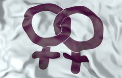 Illustration der Lesbensymbol-Flagge 3d Stockfoto