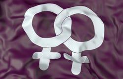 Illustration der Lesbensymbol-Flagge 3d Lizenzfreie Stockfotos