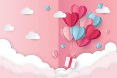 Illustration der Liebe und des Valentinstags mit Herz baloon, Geschenk und Wolken lizenzfreie abbildung