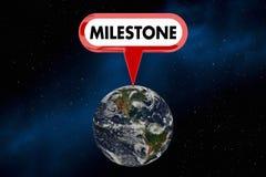 Illustration der Meilenstein-Planeten-Erdweltgroße Gewinn-Durchführungs-3d Lizenzfreie Stockfotografie