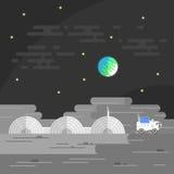 Illustration der menschlichen Basis auf Mond Stockbild