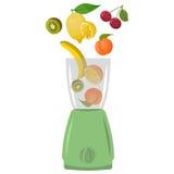 Illustration der Mischmaschine mit Früchten Lizenzfreie Stockfotografie