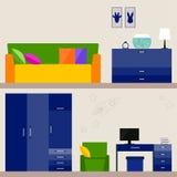 Illustration in der modischen flachen Art mit Kinderrauminnenraum für Gebrauch im Design für für Karte, Einladung, Plakat, Fahne, Lizenzfreies Stockfoto