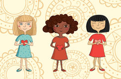 Illustration der multikulturellen Mädchen mit Herzen Stockbild