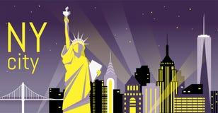 Illustration der Nacht New York City, flache Landschaft die Lieferung verankerte im Kanal Lizenzfreie Stockbilder