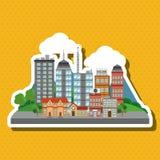 Illustration der Naturstadt, des Vektordesigns, des Gebäudes und der Immobilien bezog sich Lizenzfreie Stockfotos